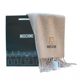Moschino Wool Beige Teddy Embroidered Scarf