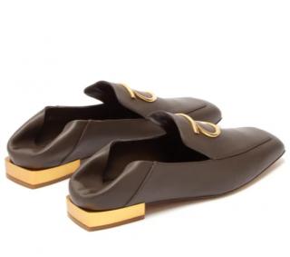 Ferragamo Lana Gancini-plaque leather loafers
