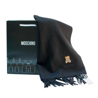 Moschino Merino Wool Black Teddy Embroidered Scarf