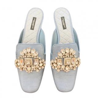 Dolce & Gabbana crystal embellished Iguana print slides