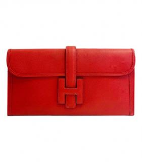 Hermes Red Epsom Leather Jige Elan 29 Clutch Bag