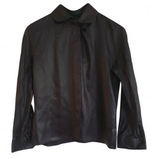 Fendi Black Wet Look Blouse