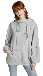 SJYP Grey Distressed Hoodie