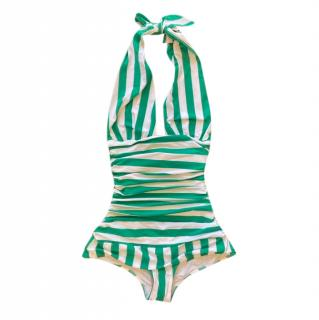 Dolce & Gabbana Green Striped Halterneck Swimsuit