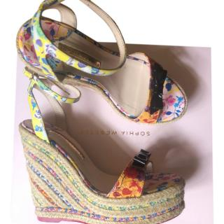 Sophia Webster floral wedge sandals