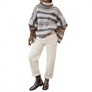 Brunello Cucinelli mohair knitted poncho top