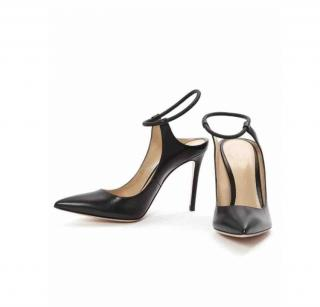 Ginavito Rossi black leather heeled sandals