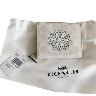 Coach small silver grey zip wallet