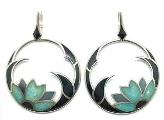 Stephen Webster enamel/mother of pearl and silver hoop earrings