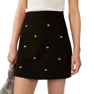 Maje Black & Gold Embroidered Mini Skirt