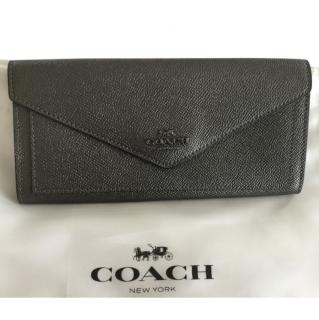 Coach Pewter Leather Envelope Wallet