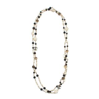 Chanel CC Faux Pearl Beaded Double Strand Necklace