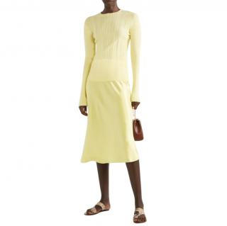 Vince Yellow Ribbed Knit Jumper
