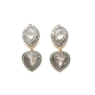 Bespoke Indian Clear Crystal Quartz & Diamond 14kt Gold Earrings