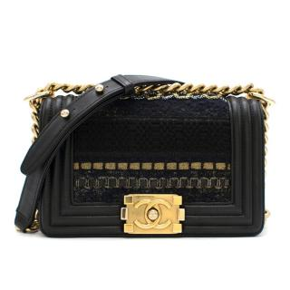 Chanel Embellished Tweed & Leather Small Boy Bag