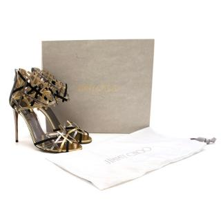 Jimmy Choo Hanover Vogue 100 Black and Gold Sandals