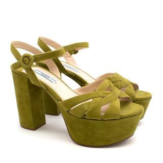 Prada Green Suede Platform High Heeled Sandals