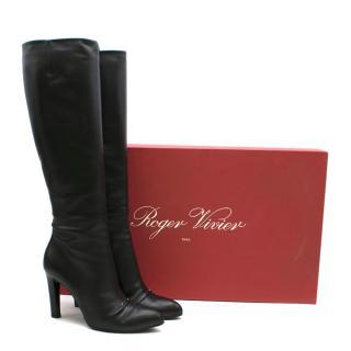 Roger Vivier Black Heeled Knee High Boots