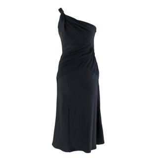 Versace Navy Twist One Shoulder Crepe Dress