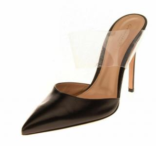Gianvito Rossi black leather and perspex mules