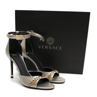 Versace Leather Chain Detail Metallic Sandals
