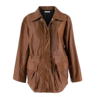 JW Anderson Brown Soft Leather Drawstring Waist Jacket