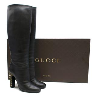 Gucci Knee Length Black Leather Boots With Studded Heel