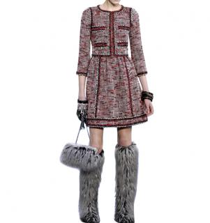 Chanel Red Boucle Tweed Runway Dress