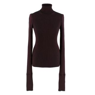 Roberto Cavalli Black Metallic Rib Knit Turtleneck Jumper