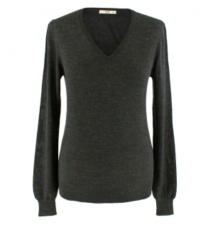 Prada V-Neck Grey Wool & Silk Sweater
