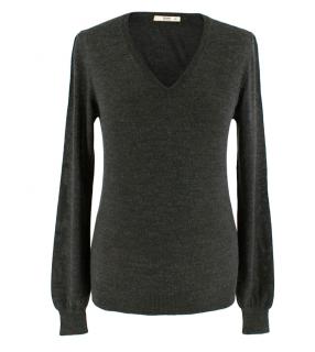 Prada V-Neck Grey Wool & Silk Sweater