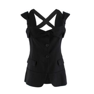 Prada Button Up Tailored Sleeveless Strappy Top