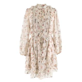 Zimmermann Floral Pleated Lace Panelled Button Down Dress with Slip