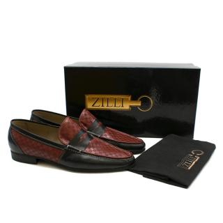 Zilli Black & Red Woven Checked Loafers