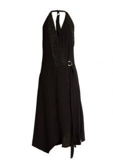 Versace Black Crystal-embellished crepe wrap dress.