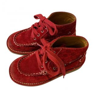 Gucci Red Suede Monogram Kid's Booties