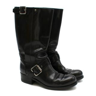 Christian Dior Black Buckle Detail Leather Boots