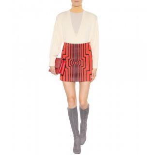 Loewe Red Suede Cyborg Mini Skirt