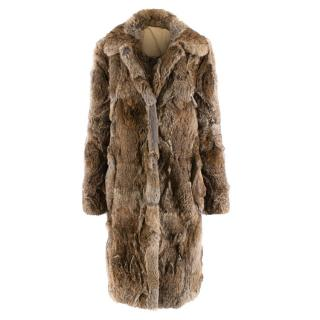 Celine Natural Rabbit Fur Longline Coat