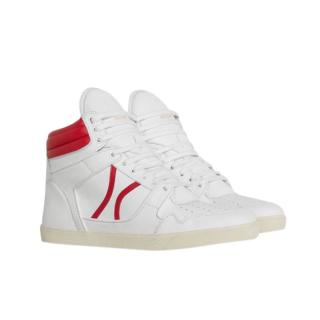 Celine white leather red trim hightops