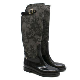 Valentino Black Lace Print Wellington Boots