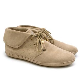 Louis Vuitton Beige Suede Monogram Moccasin Boot