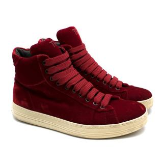 Tom Ford Russel Velvet High-Top Trainers