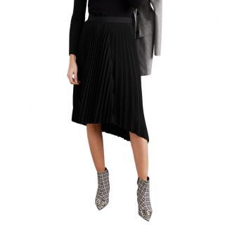 Balenciaga Black Asymmetric Pleated Skirt