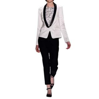 Tibi Leather Trim Satin Tailored Jacket