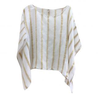 Sand White & Gold Silk Top