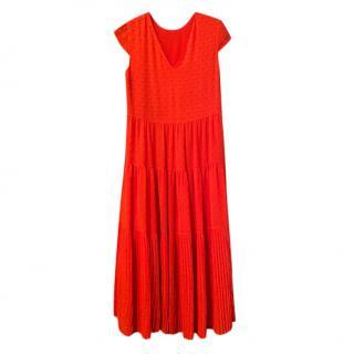Maje Orange Cap Sleeve Midi Dress