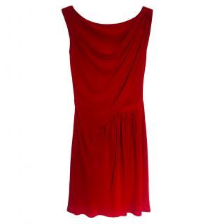 Issa Red Silk Draped Mini Dress