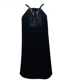 Maje Black Silk Leather Fringed Mini Dress