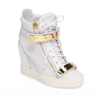 Giuseppe Zanotti White Python Wedge Sneakers
